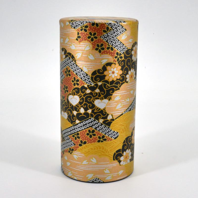 boîte à thé japonaise noire dorée en papier washi KOGANE