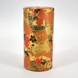 boîte à thé japonaise rouge dorée en papier washi KOGANE