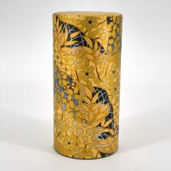 Japanese tea box made of washi paper, KOGANE, yellow and golden
