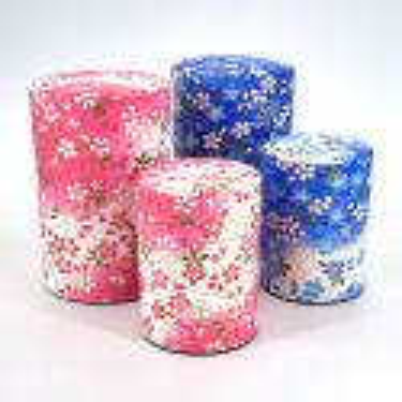 Blue or pink Japanese tea caddy in washi paper, YUZEN KAZE, 40 g or 100 g