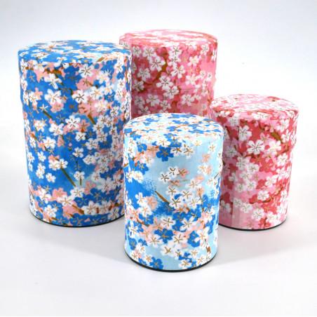 Japanese blue or pink tea caddy in washi paper, YUZEN HANA, 40 g or 100 g