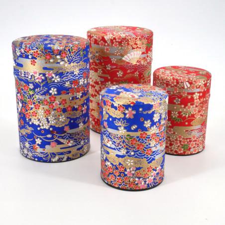 Blue or red Japanese tea caddy in washi paper, YUZEN SENSU, 40 g or 100 g