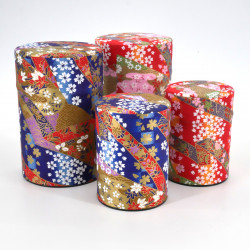 Japanese tea box made of washi paper, RUBANS, Red and blue
