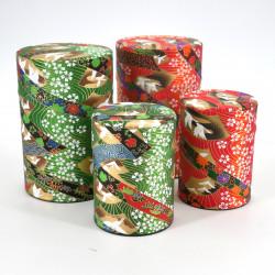 Green or red Japanese tea box in washi paper, YUZEN TSURU, 40 g or 100 g