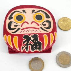 Japanese style red leather coin purse DARUMA