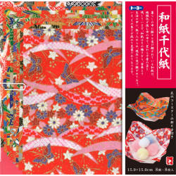 set de 8 feuilles de papier japonais Wagami Chiyogami Origami 15x15 cm
