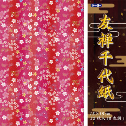 set de 32 feuilles de papier japonais Yuzen Chiyogami Flower 8 designs 15x15 cm
