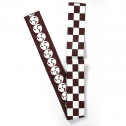 Japanese brown reversible checkerboard kamon obi sash BANTENOBI