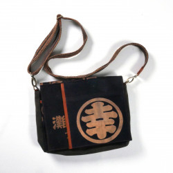 Unique handbag made of recycled Japanese fabrics, 146 A, black and brown