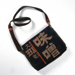 Unique handbag made of recycled Japanese fabrics, 146 B, black and brown