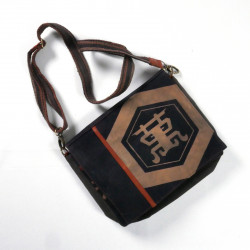 Unique handbag made of recycled Japanese fabrics, 146 D, black and brown