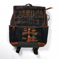 Unique backpack made of recycled Japanese fabrics, 148 A, black and brown