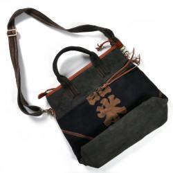 Grande borsa unica nel suo genere, realizzata con tessuti giapponesi riciclati, 149 A, nero e marrone
