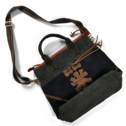 Unique large bag made of recycled Japanese fabrics, 149 A, black and brown