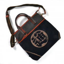 Unique large bag made of recycled Japanese fabrics, 149 C, black and brown