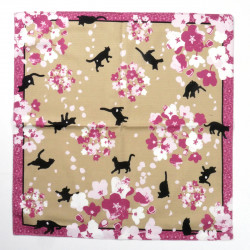 japanese pink grey cotton furoshiki black cat SAKURA YUHO NEKO