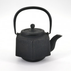black japanese hexagon Cast Iron Teapot Rokkaku Rikyû 0,5 lt