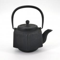 théière hexagone en fonte du Japon, OIHARU ROKKAKU RIKYÛ 0,5lt, noir