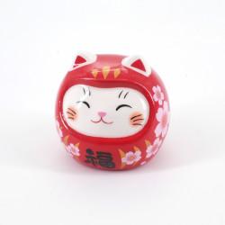 Daruma chat manekineko porte-bonheur rouge japonais fleurs sakura SAE KAIUN