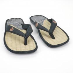Paar japanische Sandalen - Zori Stroh Goza für Männer, ZORI 019 NAMI, blau