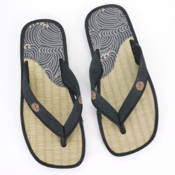 pair of Japanese sandals - Zori straw goza for men, ZORI 019 NAMI, blue