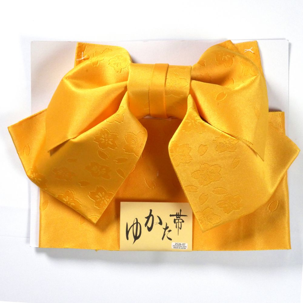 Japanese traditional yellow polyester obi sash