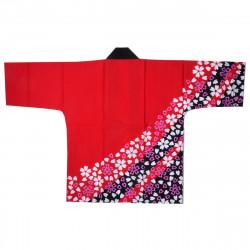 Japanese red cotton haori jacket for matsuri festival SAKURA