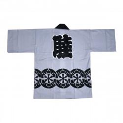 Japanese cotton grey haori jacket for matsuri festival wheel