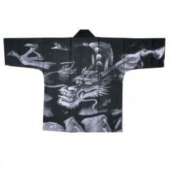 Japanese cotton grey haori jacket for matsuri festival dragon