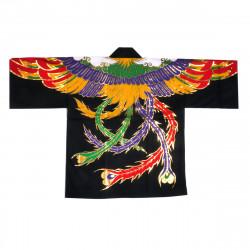 Japanese cotton black haori jacket for matsuri festival phoenix