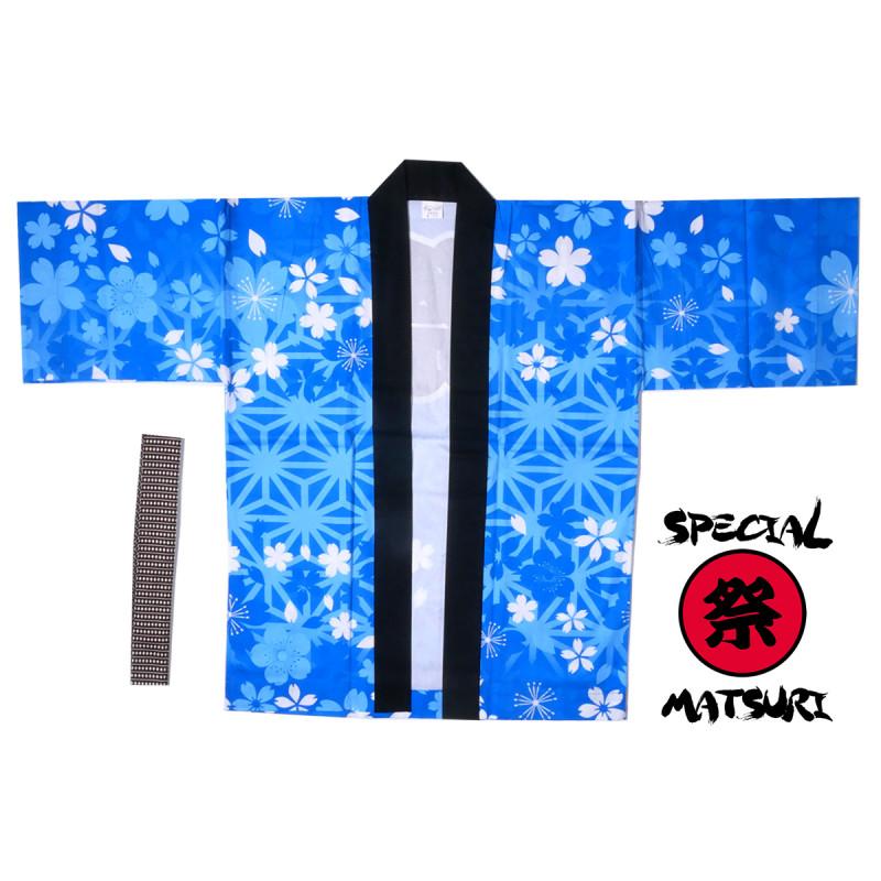 haori veste japonaise en coton couleur au choix pour festival matsuri asanoha sakura