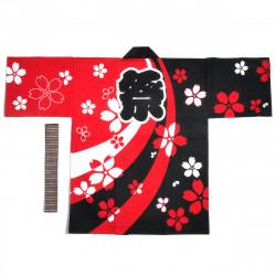 Japanese cotton red haori jacket for matsuri festival sakura