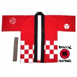 giacca di cotone giapponese haori per il festival di matsuri, ICHIMATSU, scacchiere