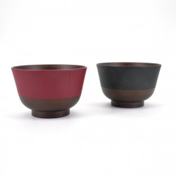 duo of Japanese bowls for miso soup, NIHON DENTÔ IRO, Red and black