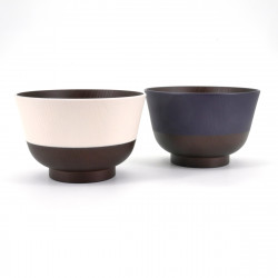 duo of Japanese bowls for miso soup, NIHON DENTÔ IRO, pink and blue