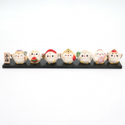 Set of 7 Japanese lucky charms, SAE SHICHIFUKUJIN FUKURÔ, owls