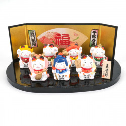 Set of 7 Japanese lucky charms, SAE SHICHIFUKUJIN MANEKINEKO, cats