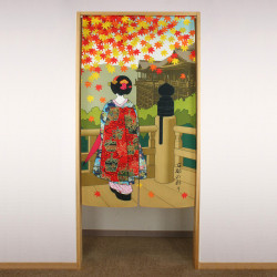 red japanese noren curtain in polyester, KYONOIRODORI, kyoto geisha