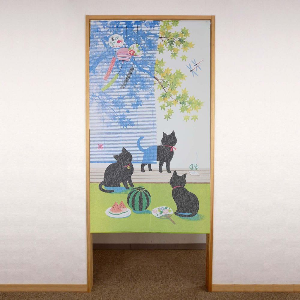 blue japanese noren curtain in polyester, SUDARE KURONEKO, black cats
