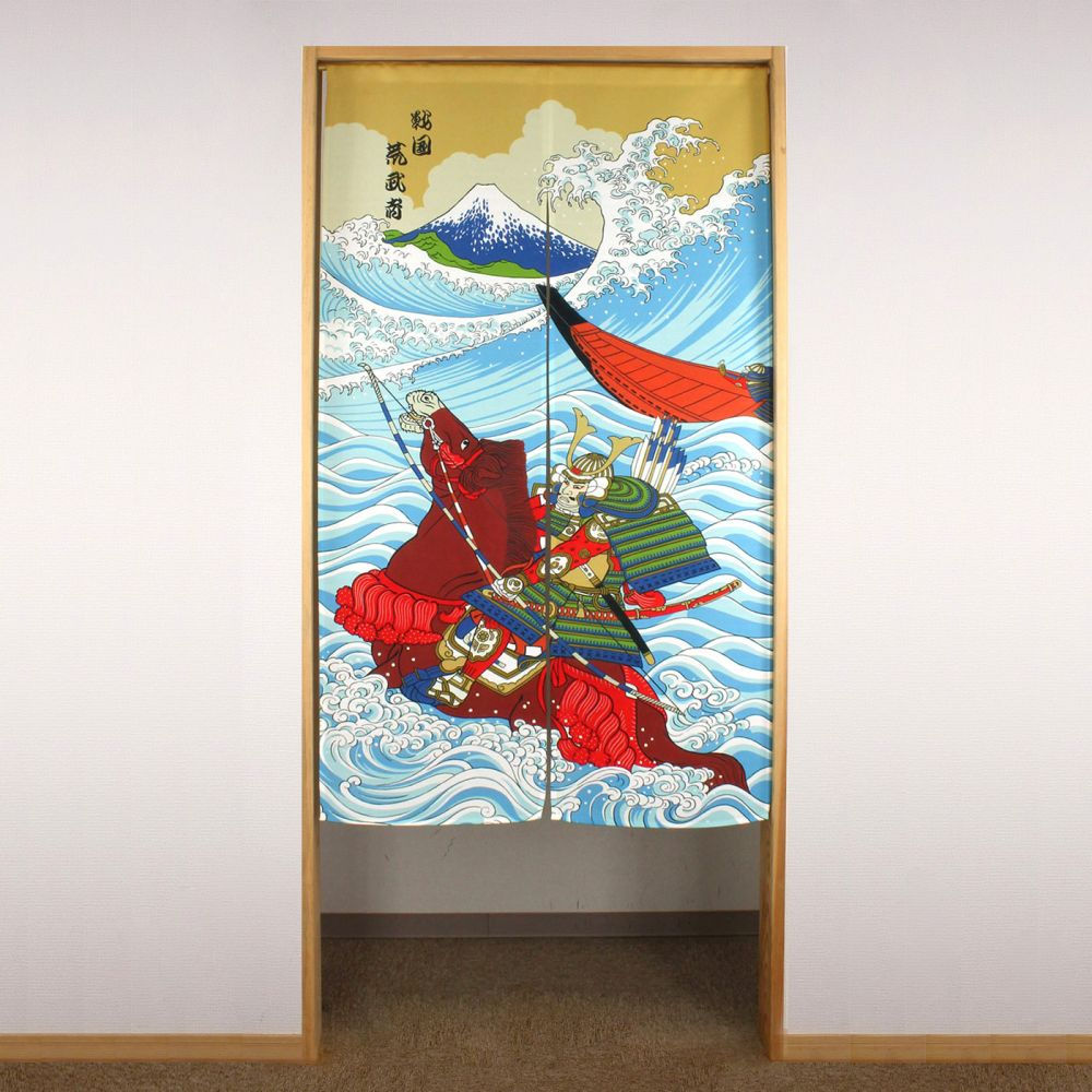 blue japanese noren curtain in polyester, SAMURAI, warrior