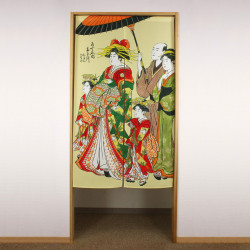 yellow japanese noren curtain in polyester, OIRAN, woman