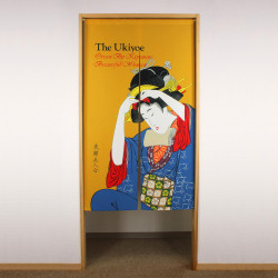 yellow japanese noren curtain in polyester, UKIYOE, woman