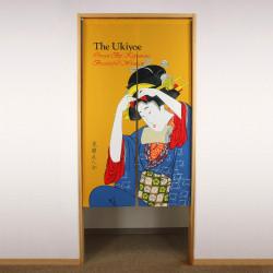 yellow japanese noren curtain in polyester, UKIYOE, woman