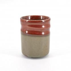 japanische Teetasse, SABI, rot und beige