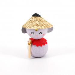 poupée japonaise okiagari, JIZO, protecteur gris