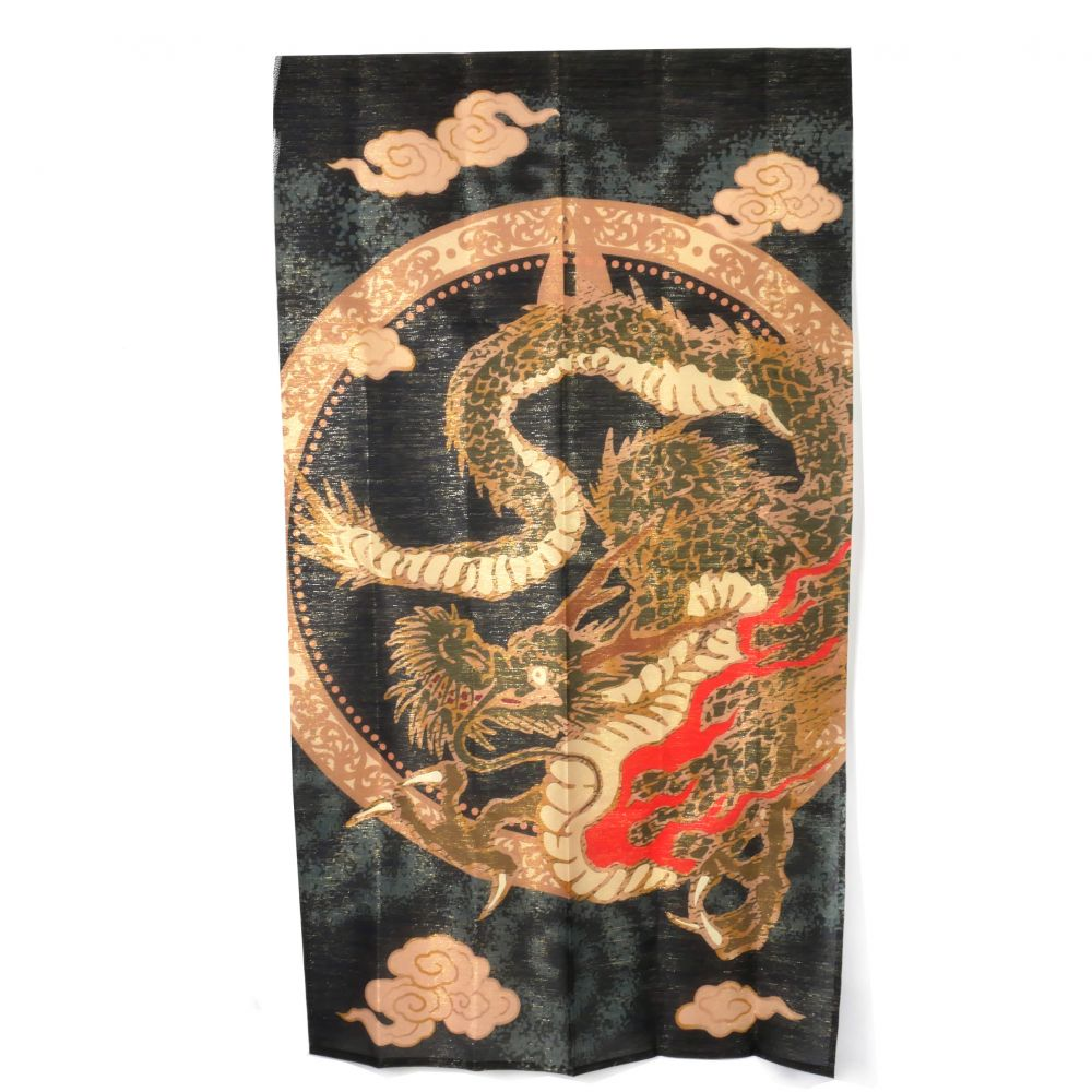 black japanese noren curtain in polyester, HIRYU, flying dragon