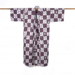 Yukata prestigio de algodón japonés para hombre, NEMAKI, púrpura
