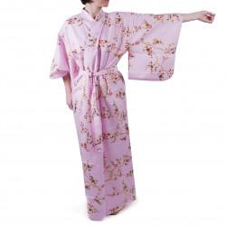 yukata japonés kimono algodón rosa, KINUME, flores de ciruelo dorado