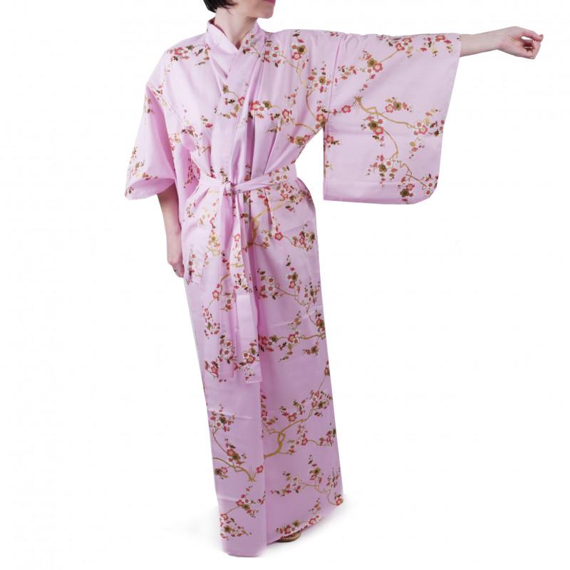 Japanese traditional pink cotton yukata kimono golden plum for ladies