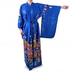 Japanese traditional blue kimono gilt poem and princess for ladies